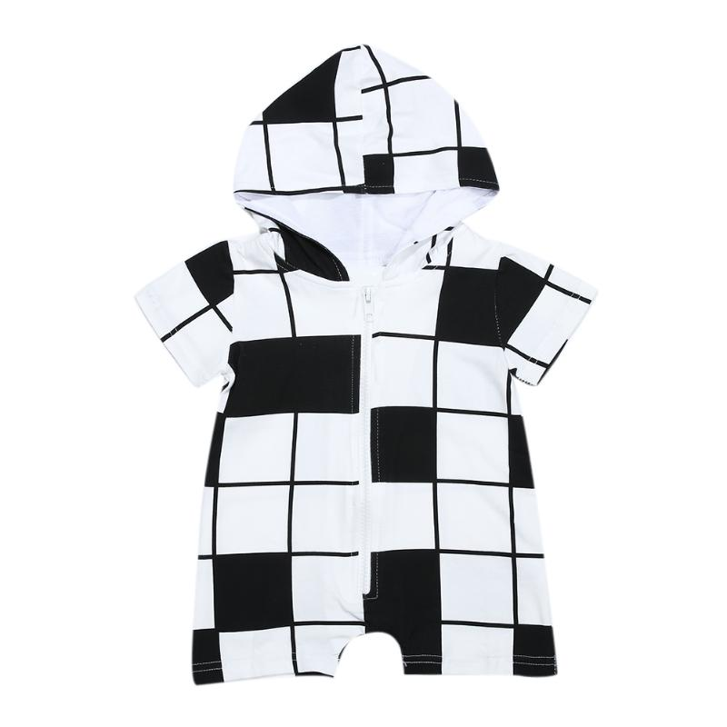 Unisex Baby Boys Girls White Black Plaid Jumpsuit Infant Short Sleeve Zipper Hooded Romper Newborn Summer Clothes 2017 lovely newborn baby rompers infant bebes boys girls short sleeve printed baby clothes hooded jumpsuit costume outfit 0 18m