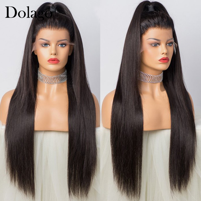 Image 2 - Straight Glueless Full Lace Human Hair Wigs 250 Density HD Transparent Fake Scalp Wig Pre Plucked With Baby Hair Dolago Remy-in Human Hair Lace Wigs from Hair Extensions & Wigs