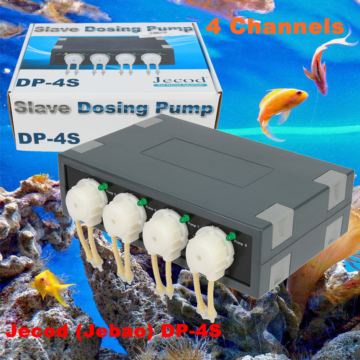 Jebao DP-4S 4 Channel Slave Dosing Pump Automatic Doser Expand DP-4 to 8 Channel Reef CA AB for Marine Reef Aquarium цена