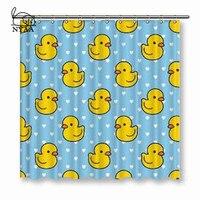 NYAA Cartoon Cute Duck zasłony prysznicowe niebieski wodoodporna tkanina poliestrowa zasłony łazienkowe do wystroju domu w Zasłony prysznicowe od Dom i ogród na
