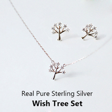 100% Real Puro Plata Esterlina CZ Diamond Joyería de Piedra Cristalina de La Joyería Necklace + Earrings mujeres Wish Tree Joyería Conjunto