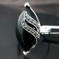 Hot Sale New Style Unique 13x29mm BLACK AGATE Marcasite 925 STERLING SILVER JEWELRY RING SIZE
