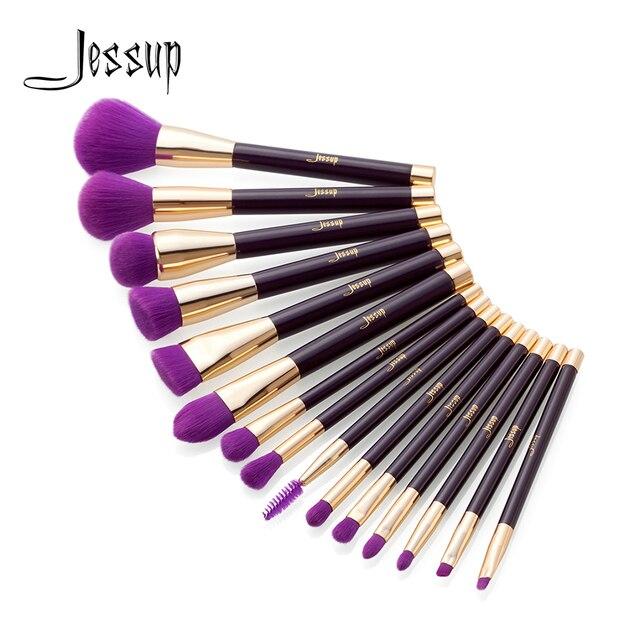 Jessup 15 sztukfioletowy/Darkviolet brochas maquillaje pinceaux maquillage cień do powiek w proszku liniowej Contour pędzle do makijażu zestaw T114