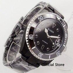 BLIGER czarny PVD galwanicznie etui na zegarek męski zegarek mechaniczny Auto data 40mm zegarek