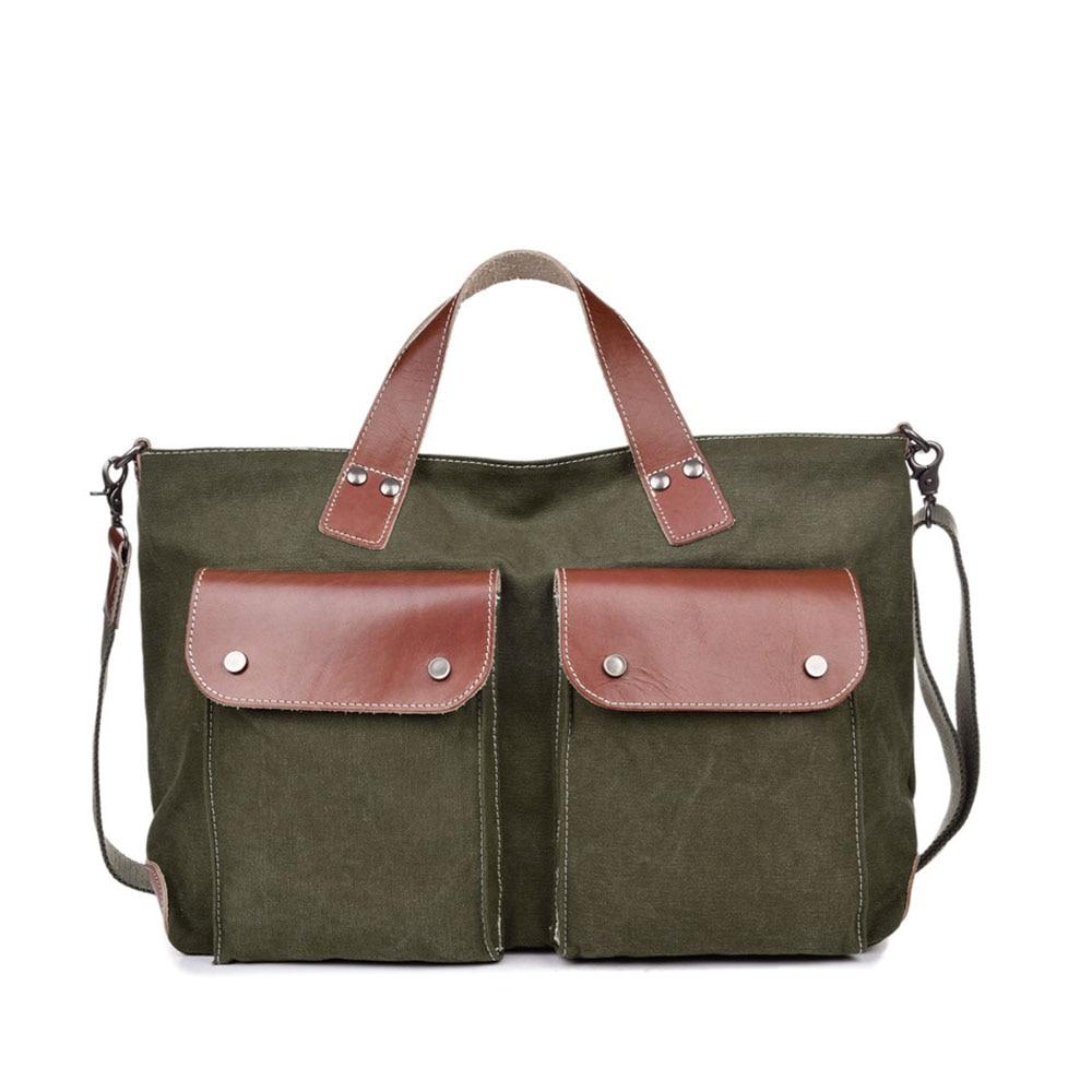 ФОТО Vintage Durable Canvas Men Handbags Casual School Book Bags Men Shoulder Crossbody Bags for Laptop Macbook Air Pro Bags