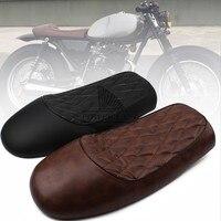 for Honda CG125 Black/Brown Universal Vintage Grid Shape Hump Motorcycle Custom Cafe Racer Diamond Style Leather Seat Saddle 1pc