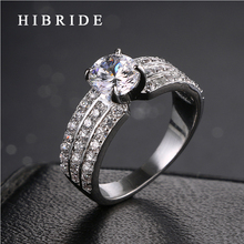 HIBRIDE Brand Luxury Wedding Engagement Rings Women Jewelry Rhodium Plated Clear Cubic Zirconia Ring Female Jewelry QSP0010-21