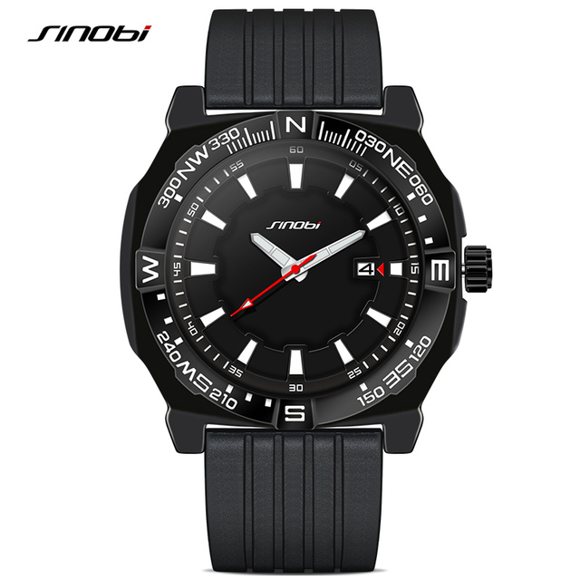 SINOBI New Men's Sports Wrist Watches Diving Watchband Top Luxury Brand Males Geneva Quartz Clock Boys Swimming Wristwatch 2016