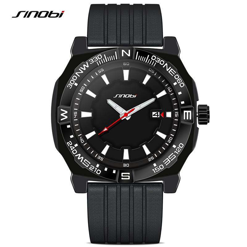 Prix pour SINOBI Nouveaux Hommes de Sport Montres de Plongée Bracelet Haut De Luxe Marque Hommes Genève Quartz Horloge Garçons De Natation Montre-Bracelet 2016