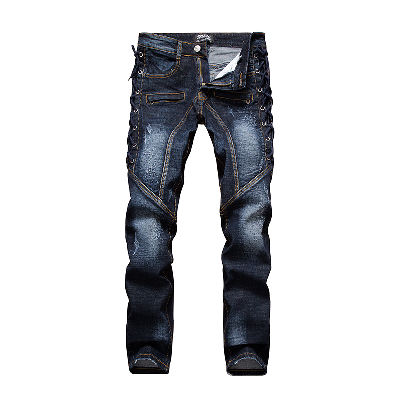 Men s ripped jeans Slim fit patchwork print denim pants Fashion zipper pocket long trousers LS