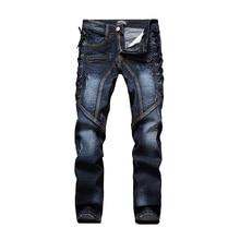 Мужские рваные джинсы Slim fit лоскутная печати джинсовые брюки Моды карман на молнии длинные брюки # LS-L005