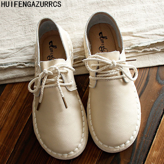 HUIFENGAZURRCS Summer Genuine leather shoes Pure handmade flats shoes the retro art mori girl shoes Simple