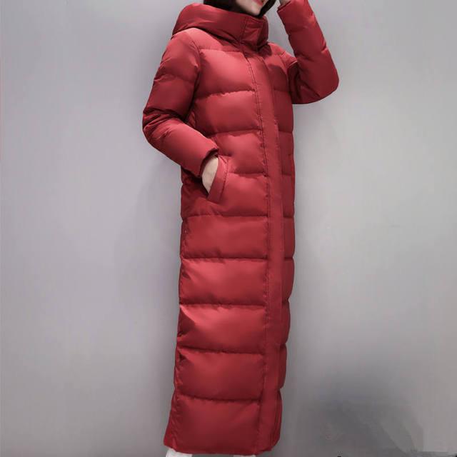 Fashion Super Long Women's Down Jacket Manteau Femme Hiver Hoodies White Duck Down Winter Coat Women Parka Female Jacket C5112 3