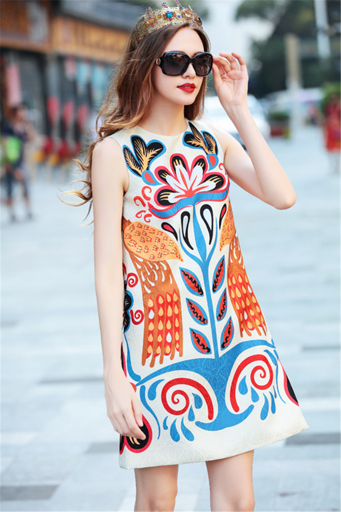 Femmes été sans manches robe 2018 rétro motif imprimé débardeur robe courte a-ligne robes décontractées de haute qualité livraison gratuite xl - 5