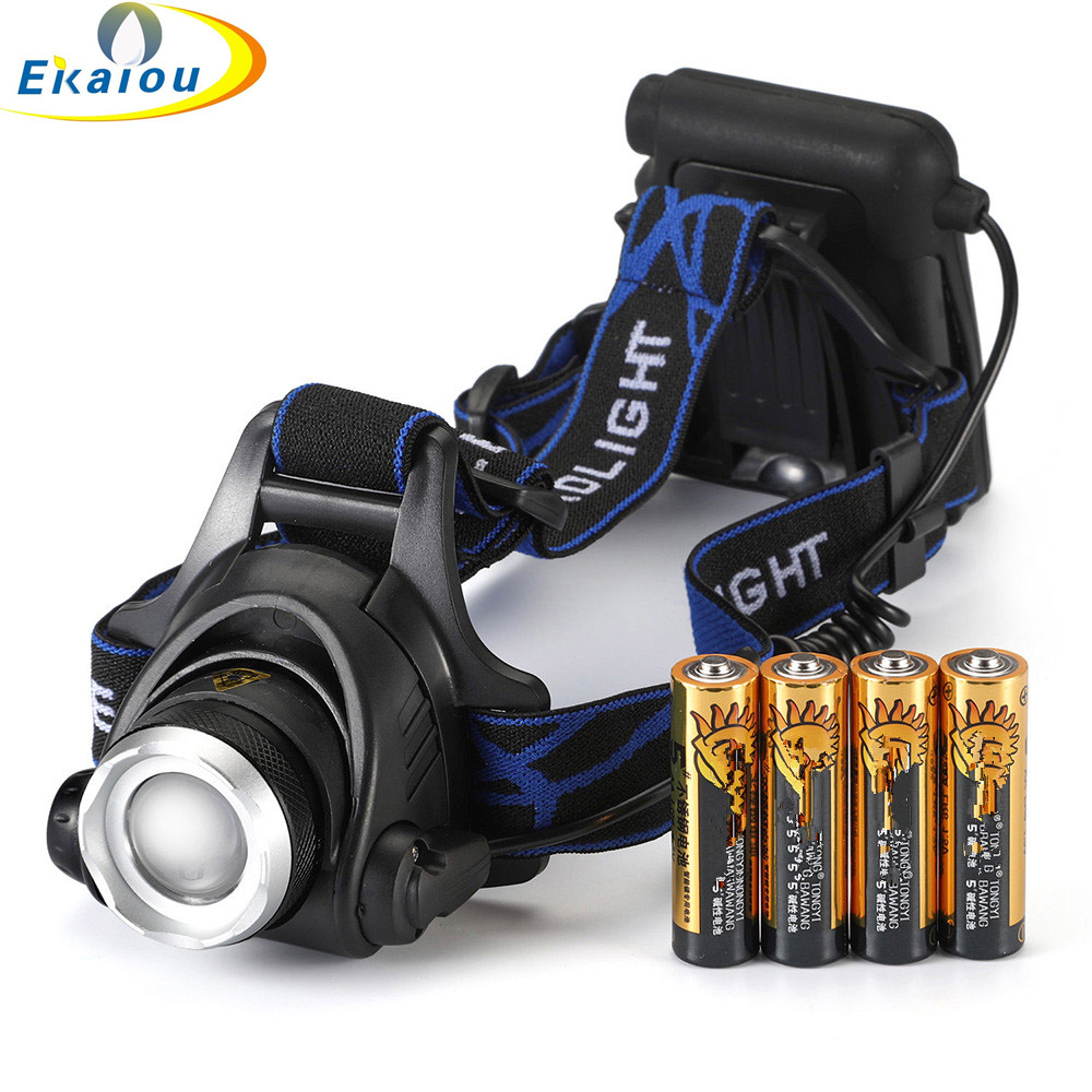 Outdoor Lighting 4 AA Dry Battery High Power Head Lights Camping LED Headlamp 3 Modes Zoomable Head Lamp