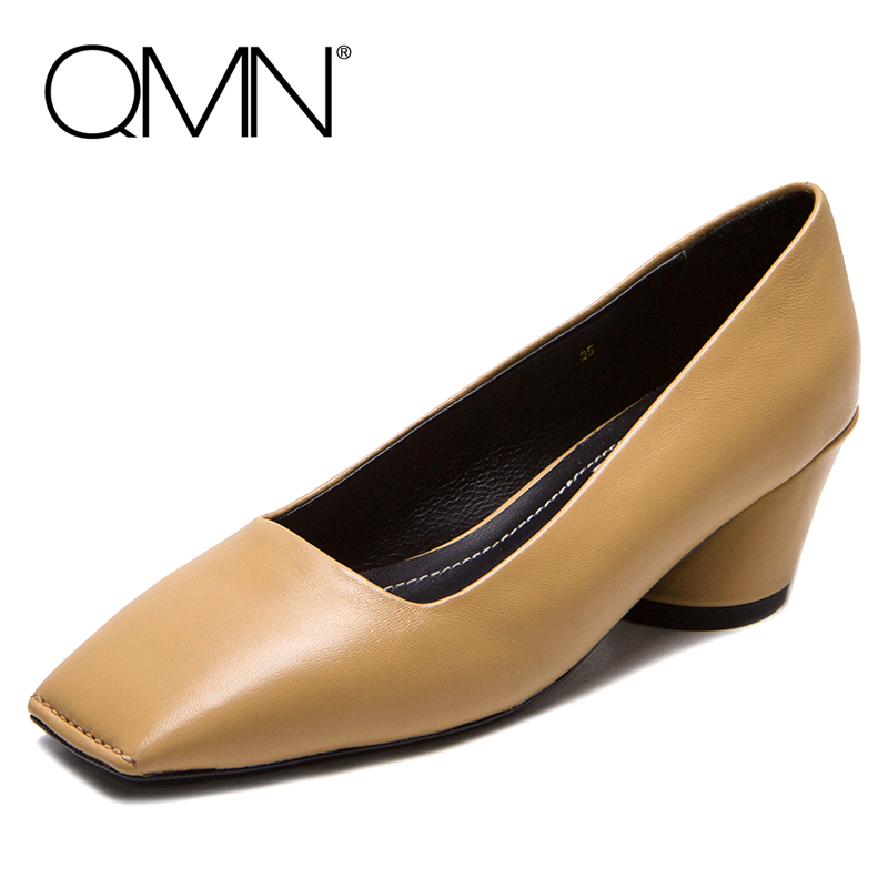 ФОТО QMN women smooth leather pumps Women Retro Square Toe Middle Heels Shallow Casual Shoes Woman Real Leather Pumps