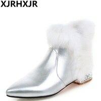 XJRHXJR 2017 Pointed Toe Low Heels Ankle Boots Brand Designer Sexy Rabbit Fur Wedding Boots Autumn Winter Ladies Shoe