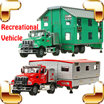 New Year Gift 1/50 Model RV Car Alloy Plastic Recreational Vehicle Transformable House Cars Assemble Toys Decoration Collection