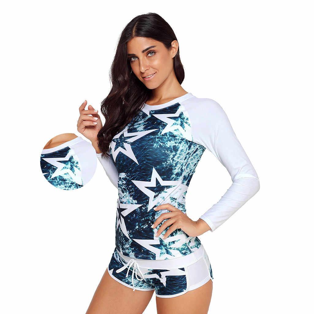 2019 Fashion Tahan Air Elastis Wanita Panjang Lengan Perlindungan Sinar UV Matahari UPF 50 + Ruam Penjaga TOP 2 Piece Swimsuit Set mungkin.