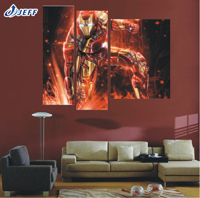 3 Panel Movie The Avengers Iron Man Wall Art Modern Home Canvas Paintings For Living Room