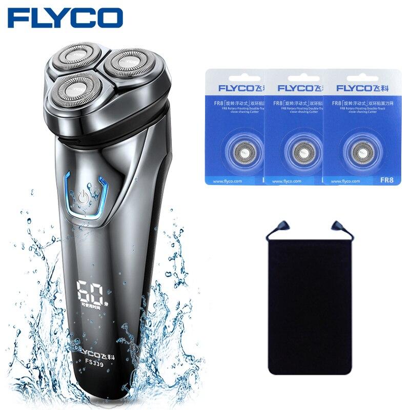Flyco IPX7 Étanche 1 Heure de Charge Rotatif Rasoir Pour Hommes Rasage Machine Rasoir Électrique Micro Tondeuse FS339-D Lames Sac