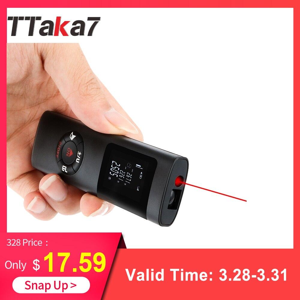 2019 nuevo TTaka7 electrónicos de mano medidor de distancia láser Mini telémetro láser cinta láser telémetro y accesorios osciloscopios metro medida