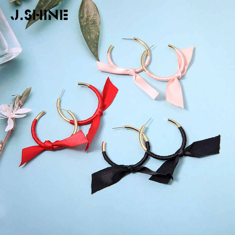 JShine Chic Three-tone Ribbon Winding Knot Gold Color Brass Circle Stud Earrings For Women Gift 2019 Korean Earrings Accessories