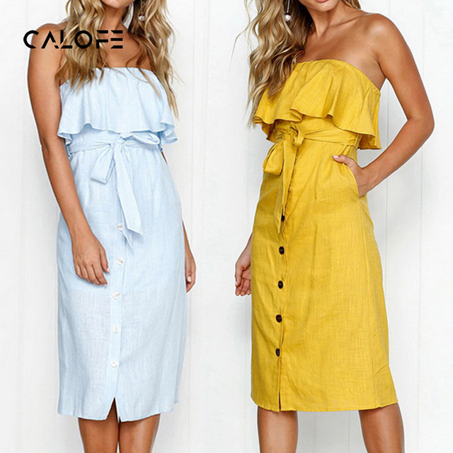 f0feb501e61 CALOFE Women Summer Dress Clubwear Sundresses Sexy Strap Off Shoulder  Lace-up Ruffles Backless Vestidos Pocket Party Dresses