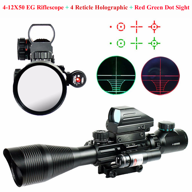 Tactical Hunting 4-12X50 EG Riflescope & 4 Reticle Holographic & Red Green Dot Sight Laser Scope Shooting Sight Scope 20mm Rail купить в Москве 2019