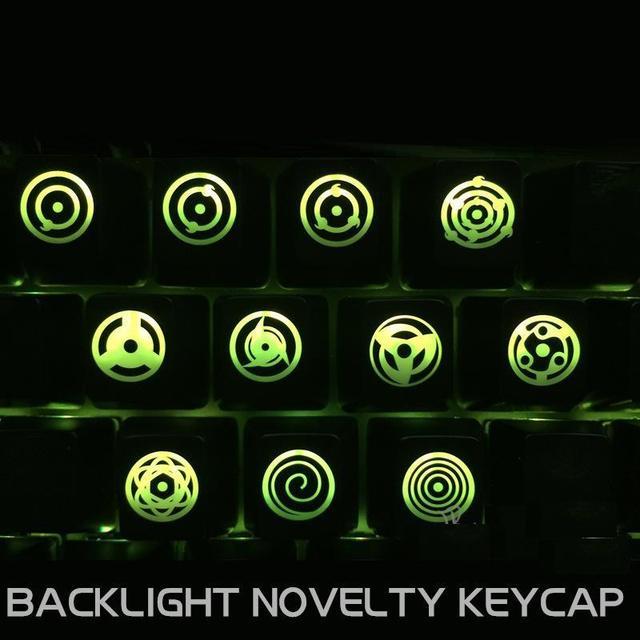 ABS Iluminado Keycaps 9 unids Teclas Claves para Retroiluminado Teclado Para Juegos Mecánicos R4/ESC Translúcido