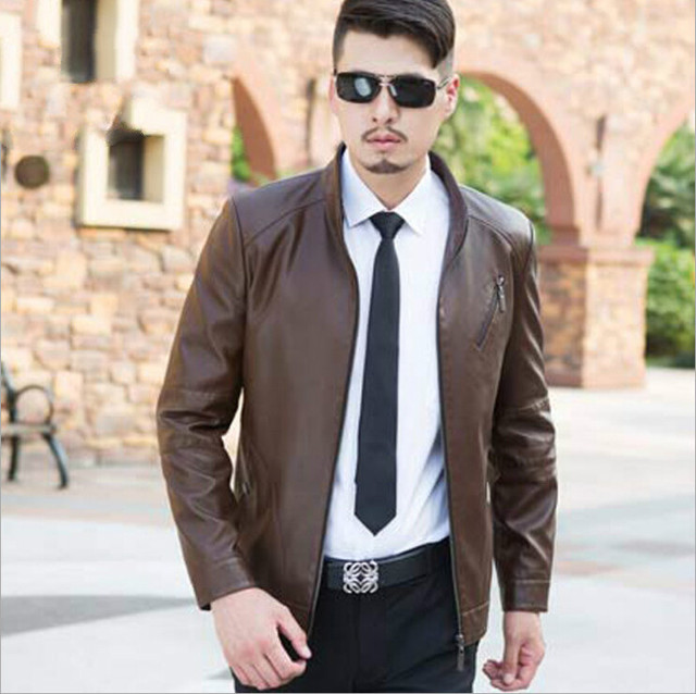 228a2e3c90d 2015 New Arrive Men Leather Jacket mens autumn style fashion genuine  leather jacket coat Color Brown Champagne Size M--3XL