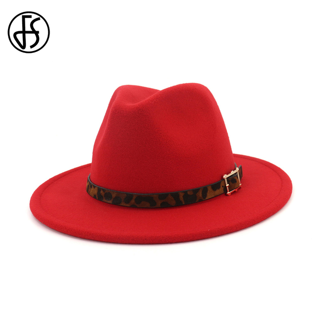 948025121 FS 2019 New Felt Hats Men Godfather Wide Brim Fedora Women Vintage Church  Hat Elegant Bowler Cap With Leopard Belt Bucket Caps