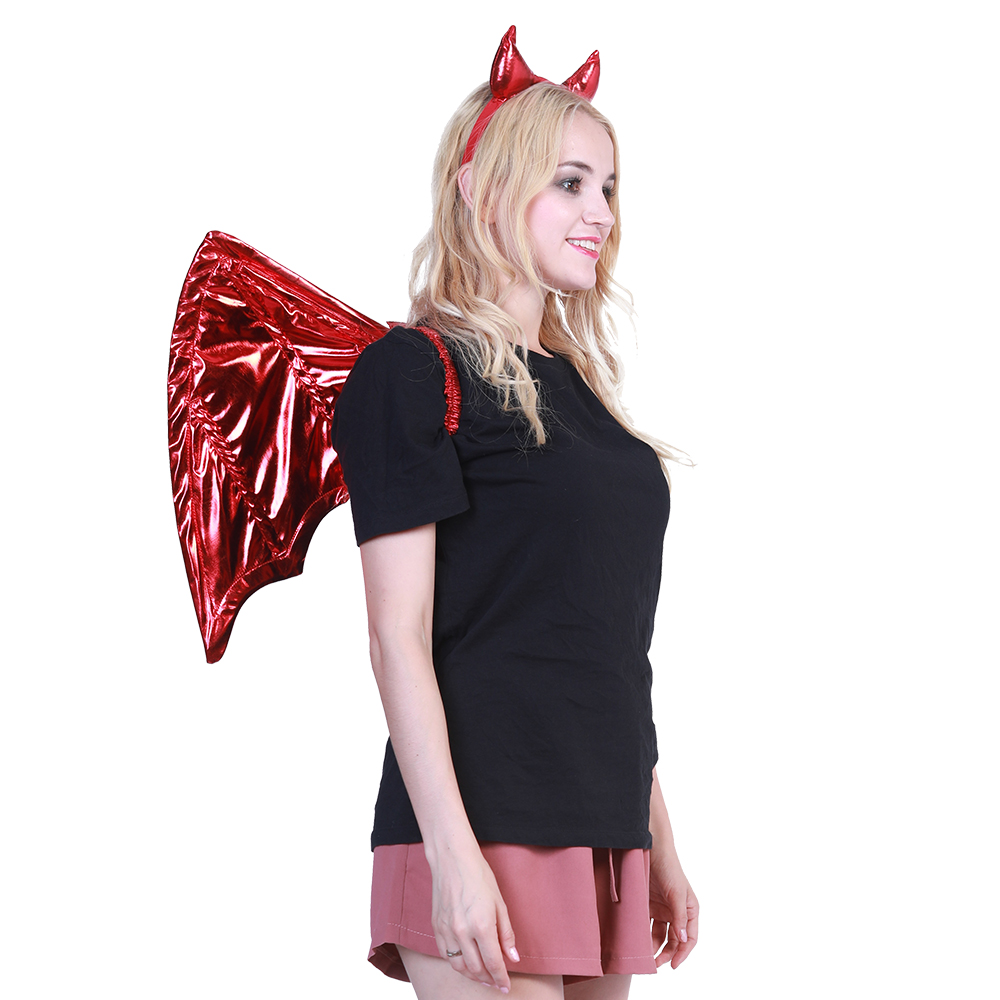 2018 Sexy Angel Devil Horns Headband Women Costume Wings Cosplay  Accessories Feathers Halloween Party Demon Fancy Dress Catwalk  221aca903074