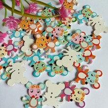 30 шт. кнопки мыши 2 отверстия деревянные пуговицы для шитья Кнопки для рукоделия Скрапбукинг аксессуары для одежды