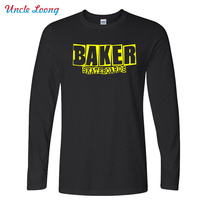 Autumn Famous Baker Skateboards Classic Long Sleeve Band Cotton Letter Print T Shirt Man Cotton Casual
