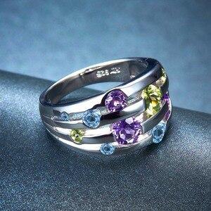 Image 3 - 천연 보석 실버 반지 925 솔리드 실버 결혼 반지 화려한 크리스탈 반지 원래 디자인 절묘한 약혼 반지