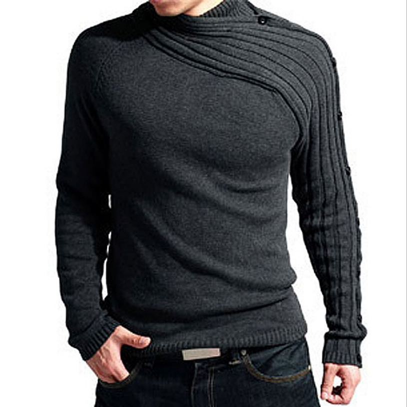 PADEGAO 2018 Men winter new warm sweater High collar sweater fashion personality Slim black solid color men knitwear in Pullovers from Men 39 s Clothing
