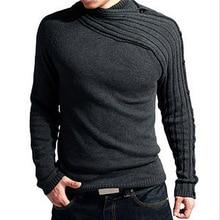 PADEGAO 2018 Men winter new warm sweater High collar fashion personality Slim black solid color men knitwear
