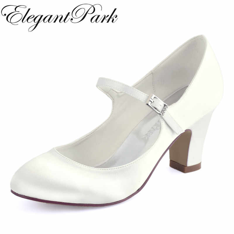 5790afbe0184 Woman Shoes Wedding Bridal White Ivory Closed Toe Med Block Heel Comfort Mary  Jane Bride Lady