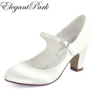 Woman Shoes Wedding Bridal White Ivory Closed Toe Med Block Heel Comfort Mary Jane Bride Lady Satin Prom Party Pumps HC1801