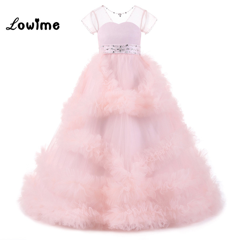 Pink   Flower     Girl     Dresses   For Weddings In Stock Kids Evening   Dress   Holy Communion   Dresses     Girls   Pageant Gowns Vestido Longo