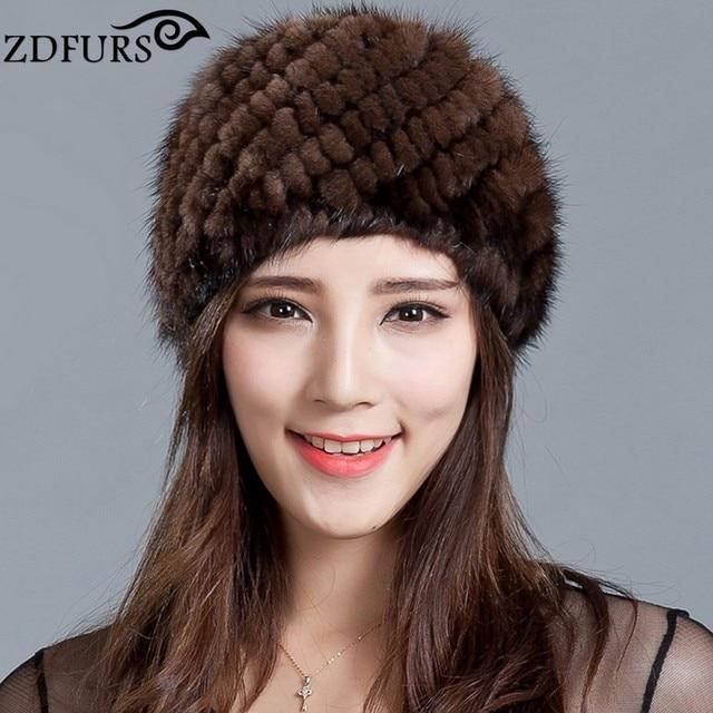 ZDFURS   de las mujeres de piel de visón sombrero Real de piel de visón  sombrero f0aef9e5748