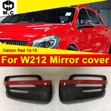 E class W212 Wing Door Mirror Cover Carbon fiber With Red Strip 2 pcs Fits For Mercedes Benz E63AMG look 1:1 Replacement 2010-15