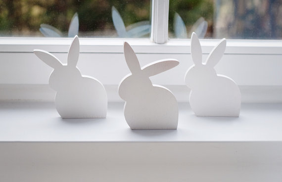 White Wooden Rabbits Set Of 3 Easter Bunny Spring Pvc Wood Decor Mint Centerpiece In Figurines Miniatures From Home Garden On Aliexpress