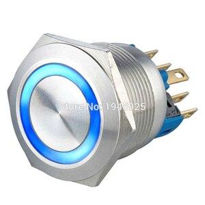 (10 peças/lote) 22mm de aço inoxidável momentâneo e travamento 1no1nc interruptor de botão 3 v 5 v 6 v 12 v 24 v 220 v azul led