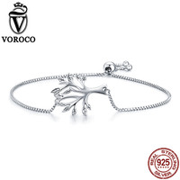 VOROCO 100 Pure 925 Sterling Silver Tree Of Life Chain Link Hand Bracelet For Women Wedding