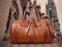 2016 Genuine Leather Bags For Women Famous Brands Designer Boston Handbags Women Leather Pillow Bags Tassel Tote Bag For Women