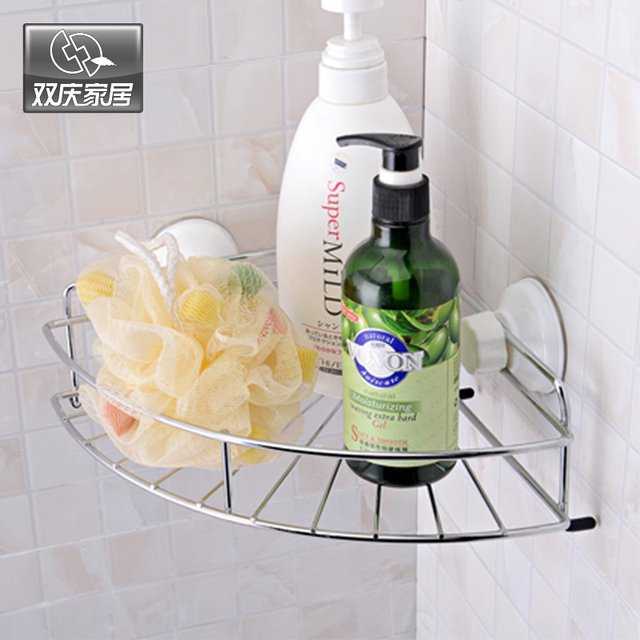 Strong Suction Cup bathroom Corner Shelf wall shelf Stainless Steel ...