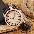 Hot Moda Relógio Delator Preto Genuíno de Quartzo de Couro-relógios de Madeira Natural de Bambu De Madeira Originais Homens Relógio Reloj de Simples feito