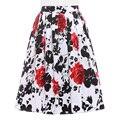 Womens faldas Summer Style american apparel retro Vintage Pleated 50s Skirts Pinup Cotton saia feminina print Skirt plus size